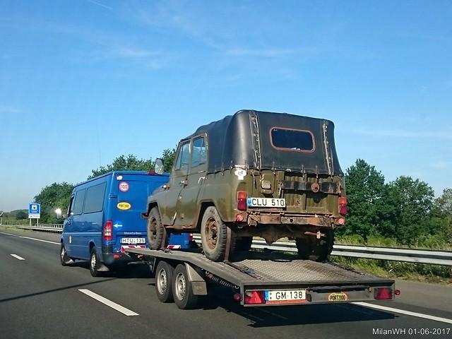 UAZ 469 on a trailer