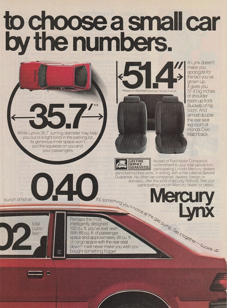 1985 Mercury Lynx Ad - USA | Covers the 1985 Mercury Lynx th… | Flickr