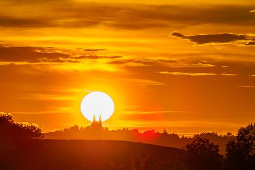 pöstlingberg sunset austria linz church backlight silhouette summer evening