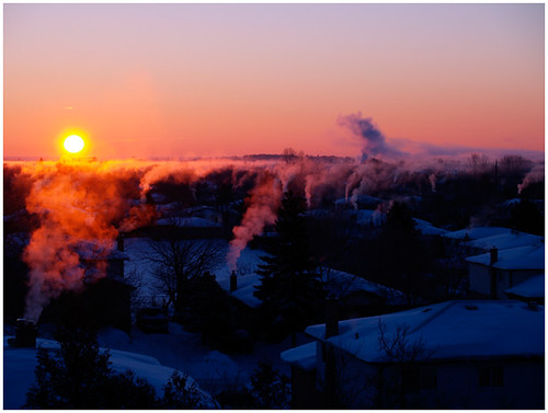 from morning houses winter chimney sun ontario cold sunrise fire early balcony smoke crisp barrie