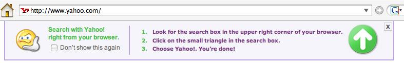 Yahoo search plugin prompt
