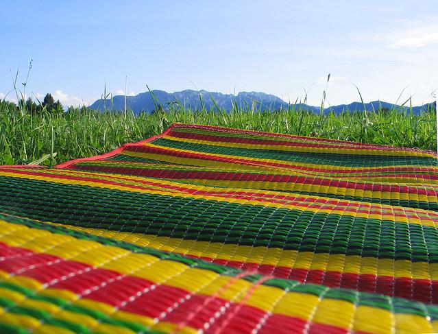 Picknick Picnic Mat Colors Meadow Grass Bayern Mountain