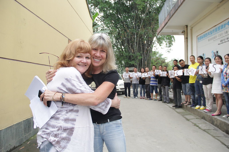 Animals Asia's Ambassador Lesley Nicol and Jill Robinson giving a bear hug
