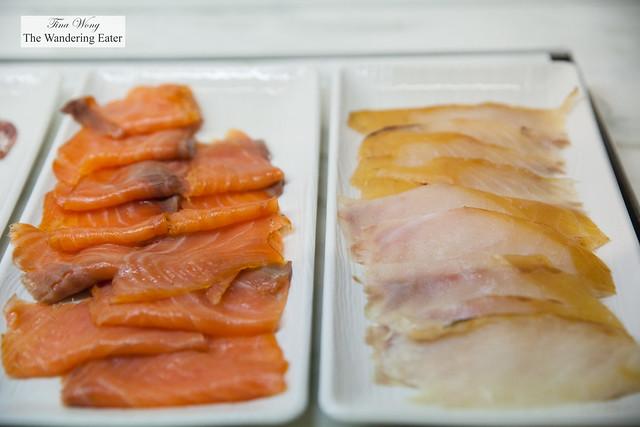 Smoked salmon and smoked cod