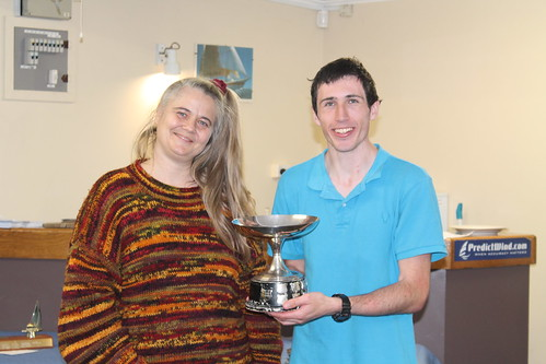 Chantal and Andrew Coffin, winner of the Kaiahiku Trophy for most wins | by PLSC (Panmure Lagoon Sailing Club)