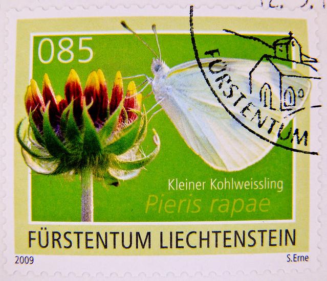 beautiful  stamp Liechtenstein 0.85 small white (Kleiner Kohlweißling, Pieris rapae, Piéride de la rave, cavolaia minore, Репница, 菜粉蝶, répalepke, モンシロチョウ) stamp Briefmarke Liechtenstein timbre marka selo francobollo timbre stamp selo franco bollo postage
