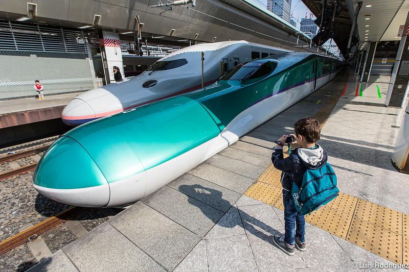 El pequeño de Japonismo fotografiando un shinkansen H5 de JR Hokkaido