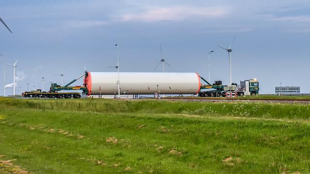 Windturbine crossing a railway....