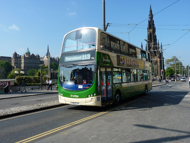 Lothian Country Buses Volvo B9TL Wright Eclipse Gemini 2 SN09CVX 936, formerly Lothian 936, on hire to East Coast Buses operating service 113 to Pencaitland at Princes Street, Edinburgh, on 25 May 2017.