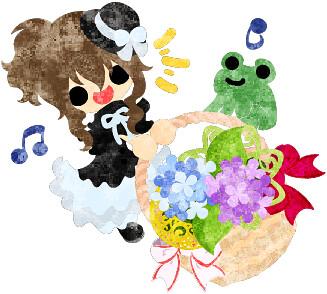 梅雨のフリーイラスト素材可愛い女の子と紫陽花の花かご Free