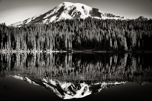 Glasslike Reflections at Reflection Lakes (Black & White, Mount Rainier National Park)