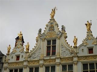 Beautiful architecture details of the building in Bruges, Belgium