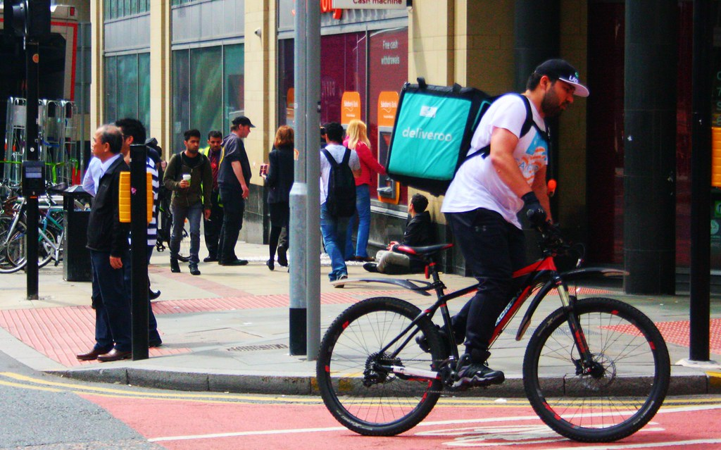 Deliveroo Cyclist on a Bike in Manchester