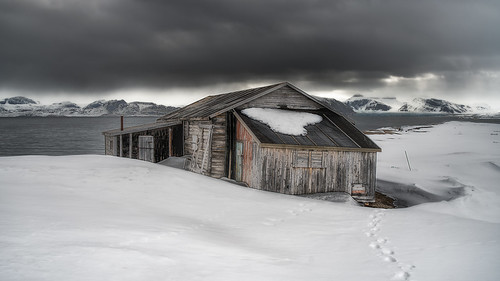 abandoned cabin decay explore footprints footsteps glacier hut ice mountain nyalesund old shed snow spitzbergen svalbard texture travel wood