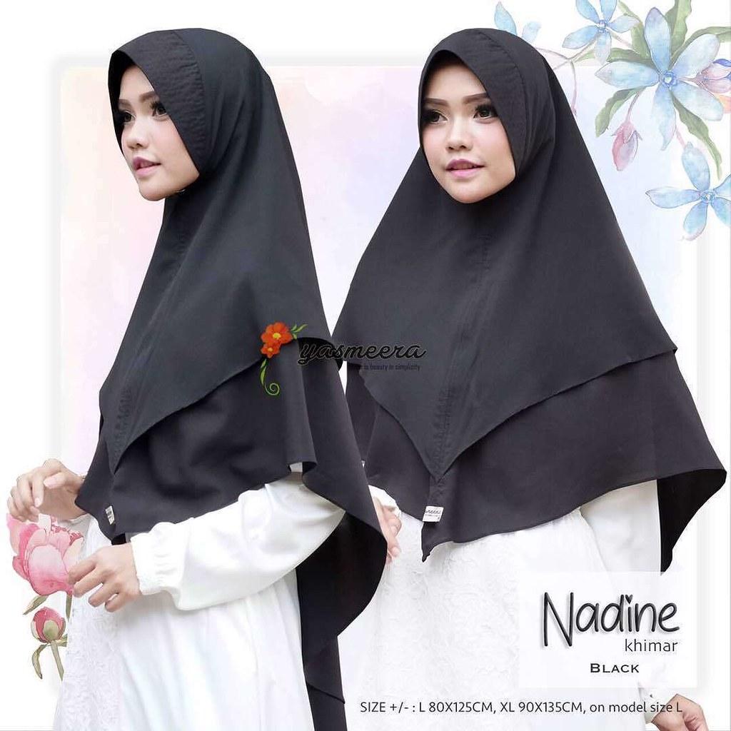 yasmeera khimar nadine black  hijab kerudung khimar jilba