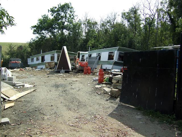 Derelict caravans at Warden
