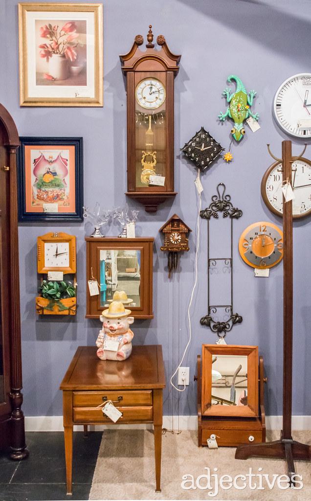 Unique clocks in Winter Garden by Timeless Treasures