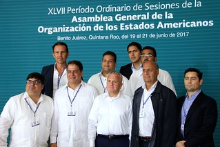 Deputy Secretary Sullivan Poses for a Photo With Members of the Venezuelan Opposition at the OAS General Assembly in Cancun