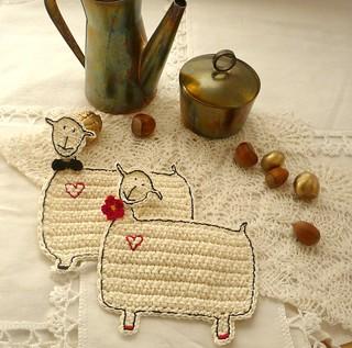 sheep coasters - rustic wedding gift