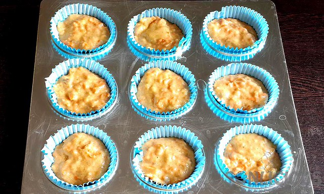 Carrot Date Muffins batter in muffin liners