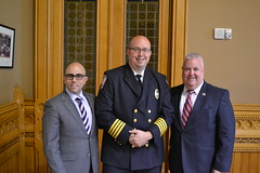 L-R: Rep. Jason Perillo (R-113), Trumbull EMS Chief and former Shelton Echo Hose Ambulance Asst. Chief Joe Laucella of Shelton, and Rep. Ben McGorty (R-122) at the EMS recognition at the Capitol today.