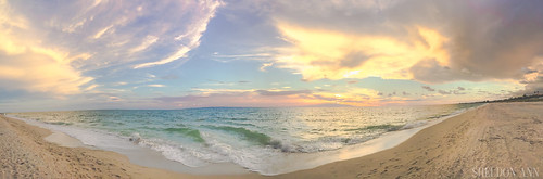 sunset pano panorama clouds waves water ocean sea tropical pink purple yellow blue casey key florida sand beach panoramic epic natural landscape light island