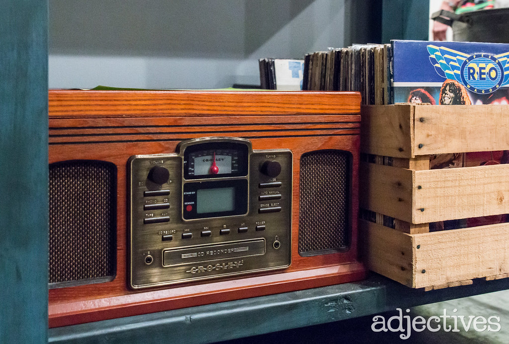 Vintage Record Player and records in Winter Garden by Potbelly Antiques