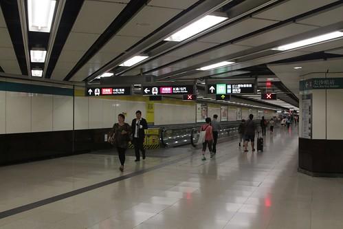 Moving walkways in the corridor linking East Tsim Sha Tsui and Tsim Sha Tsui stations