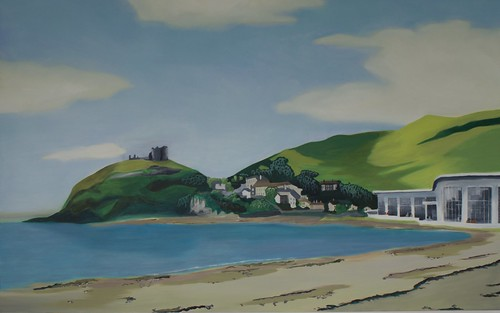 Original Oil Painting for Dylan's Restaurant, Criccieth.  This painting  was used on a postcard that we give away to our customers who visit our Criccieth Restaurant.