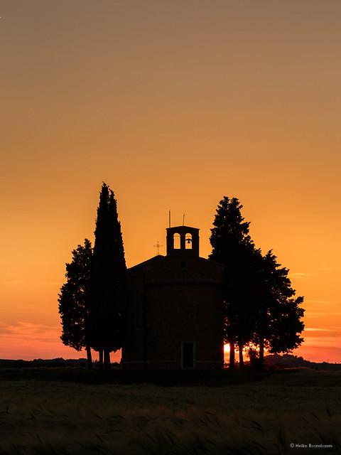 Sunset at Vitaleta Chapel