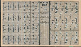 rationeringsmærker, flæsk 1917 - 1918