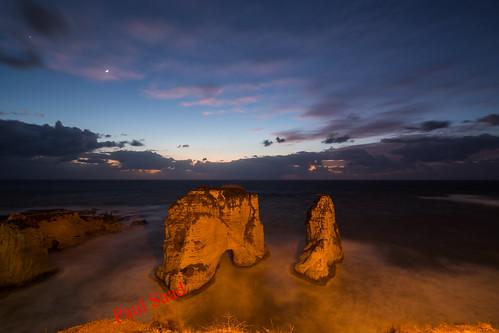 raouche lebanon beirut longexposure pigeonsrock nikon night sea storm clouds beach rocks sunset sunrise dusk dawn waves