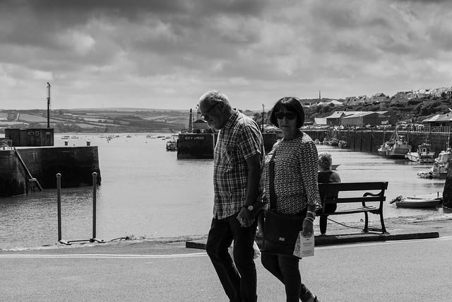 Promenading on Padstow Harbour.