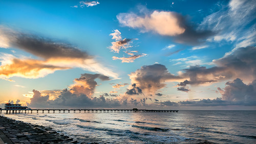 coast sea seascape galveston texas sunrise gulfofmexico bluehour goldenhour surf clouds waves fishingpier nikon d800e