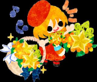 フリーイラスト素材可愛い女の子と星の花かご Free Illustration A