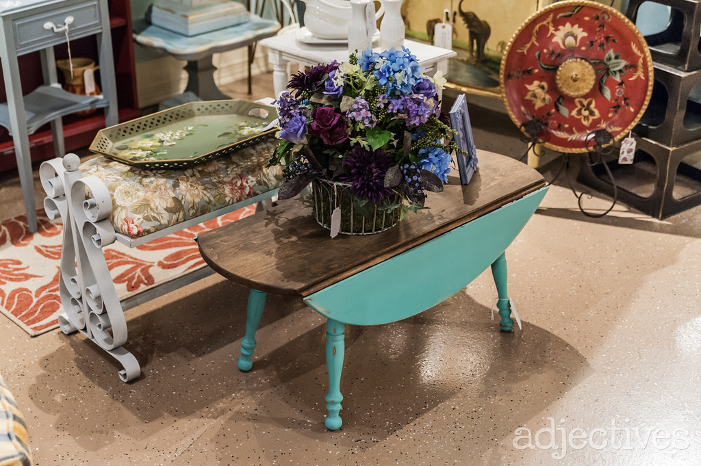 Blue and wood vintage coffee table by Deco Posh at Adjectives Winter Park