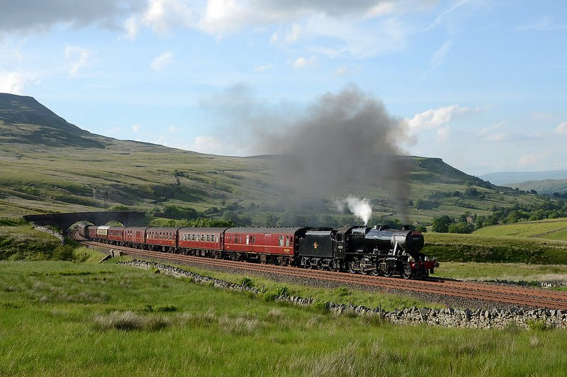 8F 48151 approaches Ais Gill on 19/6/2017.Very lucky not to get blanked by the cement  which went north seconds after I took the shot.There were problems on the day,the train stopped in section several times with one stop just over the summit Copyright David Price No unauthorised use please