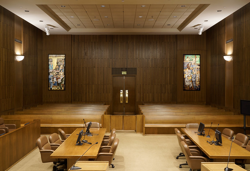 Coit Tower mural replicas, Courtroom of Hon. Judge Charles Breyer, 450 Golden Gate 17th Floor, San Francisco