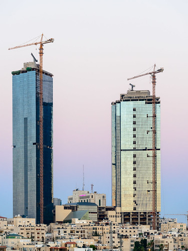 jordan amman towers crane sunset dawn buidings middleeast travel holiday architecture ammangovernorate jo reflection glass