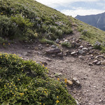 Climber's trail takes off from Siyeh Pass trail