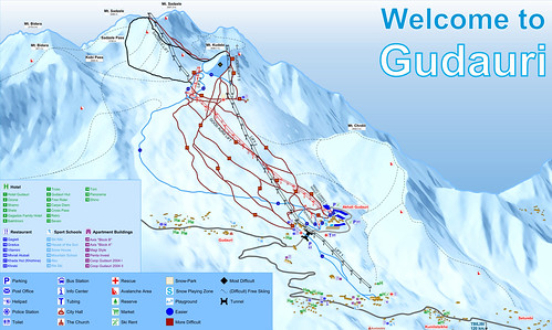 Gudauri - mapa sjezdovek