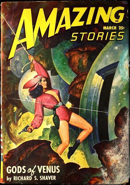 Amazing Stories Vol. 22, No. 3 (March 1948). Cover Art by Robert Gibson Jones.