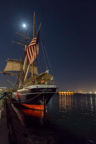 photosbymch landscape nightscape fullmoon nightsky night sailingship harbor stars longexposure starofindia sandiego california canon 5dmkiii usa 2016 outdoors