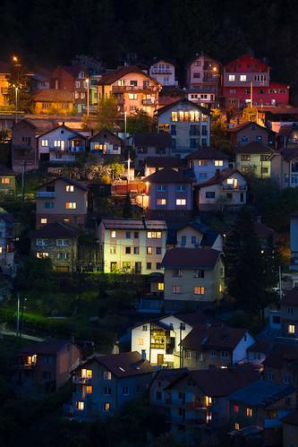 sarajevo bosniaandherzegovina bosnia mountains house night hill