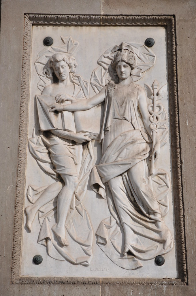 "Barcelona. Allegory of the ""Sociedad de Crédito Mercantil"" and ""Banco Hispano-Colonial"". Relief on the Monument to Antonio López y López. 1884. Lluís Puiggener, sculptor"