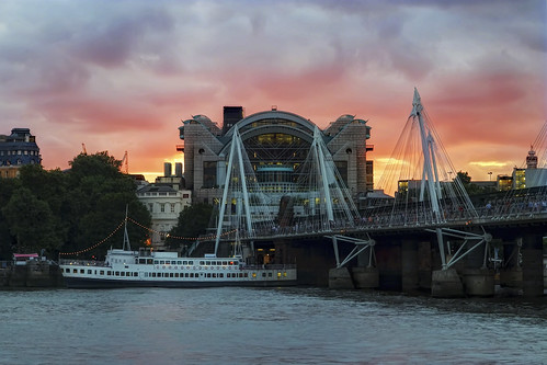 london uk charing cross station sunset dusk evening night color river thames south bank