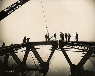 The two halves of the Tyne Bridge meet