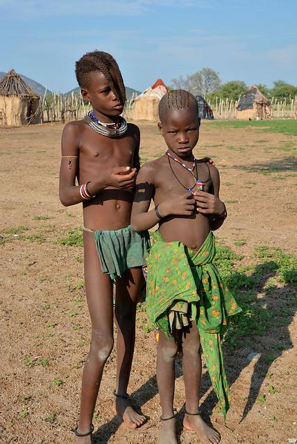 Himba kids at a village in Opuwo, Namibia.