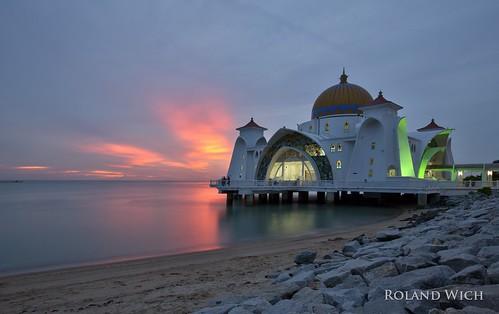 asia melaka malacca malaysia south east strait mosque moschee sunset sea straits