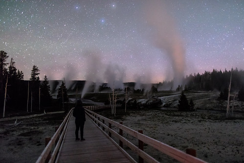 Exploring the boardwalks at night carrying bear spray | by YellowstoneNPS